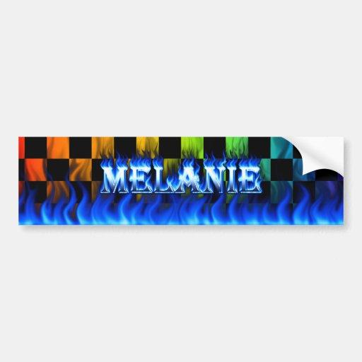 Fuego de Melanie y diseño azules de la pegatina pa Pegatina De Parachoque