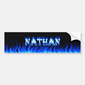 Fuego de Nathan y diseño azules de la pegatina par Pegatina De Parachoque