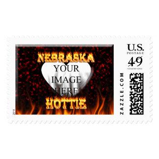 Fuego de Nebraska Hottie y corazón de mármol rojo Sello