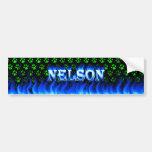 Fuego de Nelson y diseño azules de la pegatina par Pegatina De Parachoque