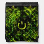 Fuego de neón verde mochilas