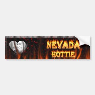 Fuego de Nevada Hottie y corazón de mármol rojo Pegatina Para Auto
