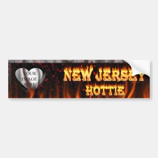 Fuego de New Jersey Hottie y corazón de mármol roj Pegatina De Parachoque