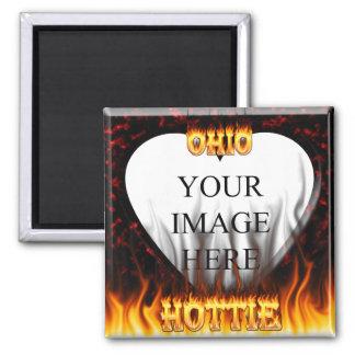 Fuego de Ohio Hottie y corazón de mármol rojo Imán Cuadrado