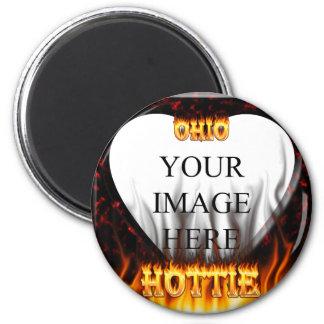 Fuego de Ohio Hottie y corazón de mármol rojo Imán Redondo 5 Cm