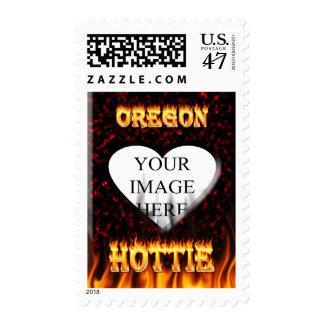 Fuego de Oregon Hottie y corazón de mármol rojo Estampillas