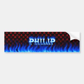 Fuego de Philip y diseño azules de la pegatina par Pegatina De Parachoque