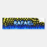 Fuego de Rafael y diseño azules de la pegatina par Etiqueta De Parachoque