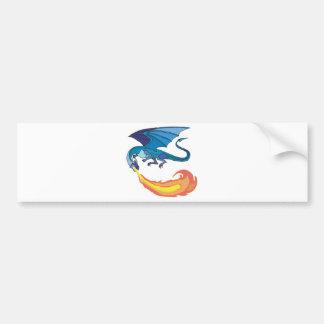 fuego de respiración del dragón azul pegatina de parachoque