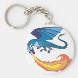fuego de respiración del dragón azul llaveros personalizados