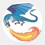 fuego de respiración del dragón azul pegatinas