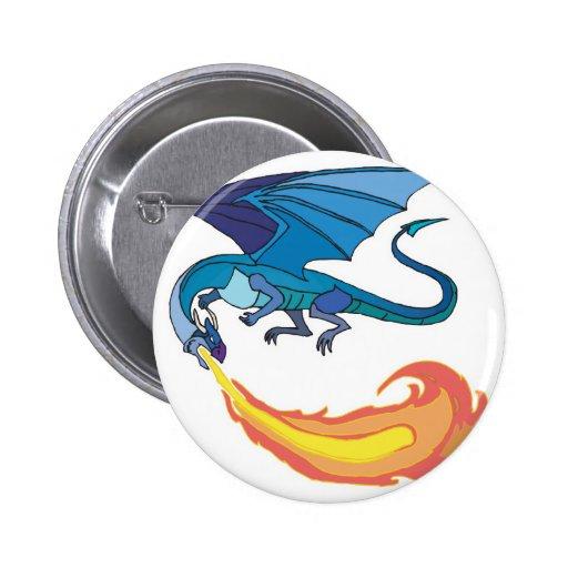 fuego de respiración del dragón azul pins