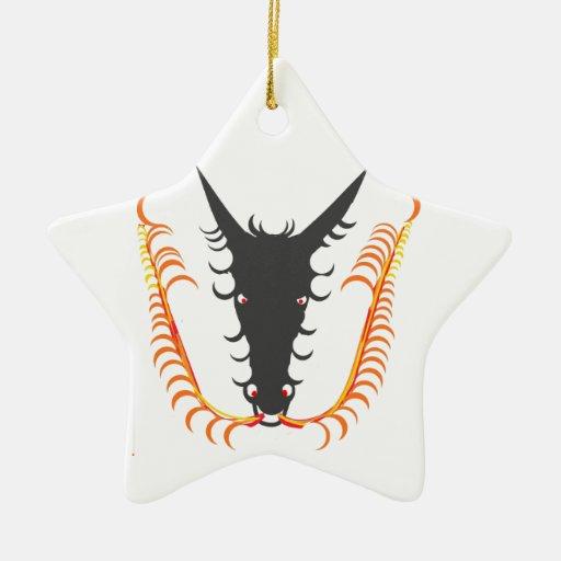Fuego de respiración del dragón adorno de cerámica en forma de estrella