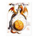 Fuego de respiración del dragón en el frasco tarjeta postal