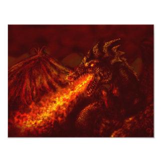 """Fuego de respiración del gran dragón rojo de la invitación 4.25"""" x 5.5"""""""