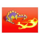 Fuego de respiración del Stegosaurus de los niños Invitación 8,9 X 12,7 Cm