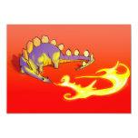 Fuego de respiración del Stegosaurus de los niños Invitación 12,7 X 17,8 Cm
