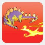 Fuego de respiración del Stegosaurus de los niños Pegatina Cuadrada