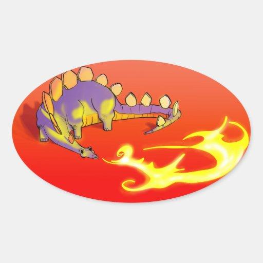 Fuego de respiración del Stegosaurus de los niños Pegatina Ovalada