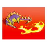 Fuego de respiración del Stegosaurus de los niños Postal