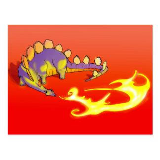 Fuego de respiración del Stegosaurus de los niños  Tarjeta Postal