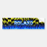 Fuego de Roland y diseño azules de la pegatina par Etiqueta De Parachoque