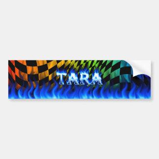 Fuego de Tara y diseño azules de la pegatina para  Etiqueta De Parachoque