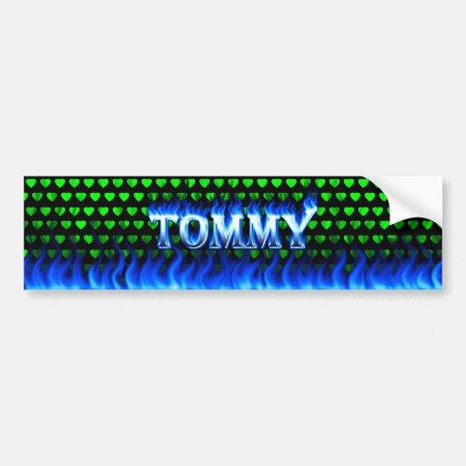 Fuego de Tommy y diseño azules de la pegatina para Pegatina Para Auto