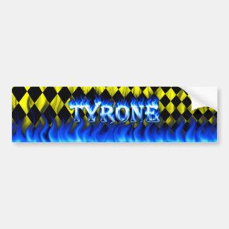 Fuego de Tyrone y diseño azules de la pegatina par Etiqueta De Parachoque