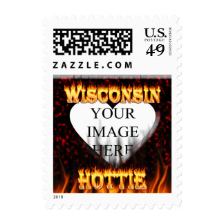 Fuego de Wisconsin Hottie y corazón de mármol rojo Sello