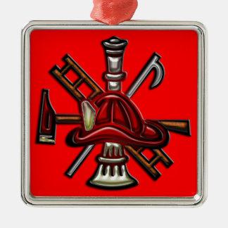Fuego del bombero y emblema del departamento del adorno navideño cuadrado de metal