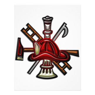 Fuego del bombero y emblema del departamento del membrete a diseño