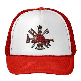 Fuego del bombero y emblema del departamento del r gorro de camionero