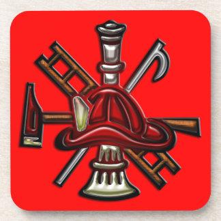 Fuego del bombero y emblema del departamento del r posavasos