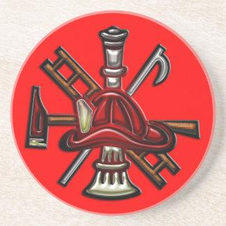 Fuego del bombero y emblema del departamento del r posavasos diseño