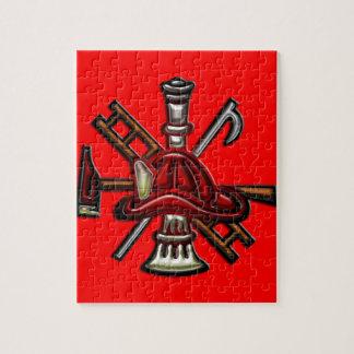 Fuego del bombero y emblema del departamento del r rompecabezas con fotos