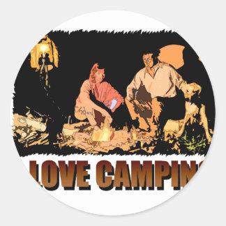 Fuego del campo de ILoveCamping Etiquetas Redondas