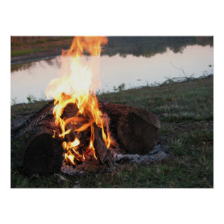 fuego del campo en el lago póster