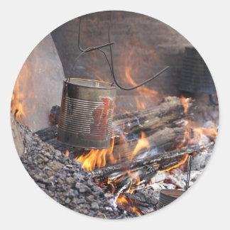 Fuego del campo pegatinas redondas