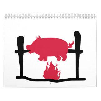 Fuego del cerdo de cría calendario