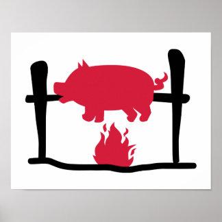 Fuego del cerdo de cría impresiones