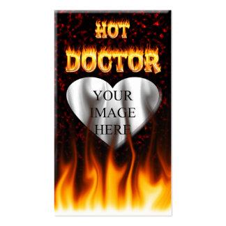 Fuego del doctor y mármol calientes del rojo de tarjetas de visita