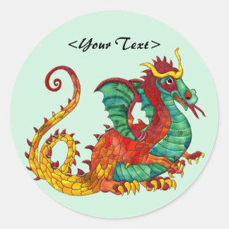 Fuego del dragón pegatina redonda