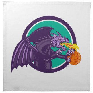 Fuego del dragón que lleva a cabo el círculo del servilleta imprimida