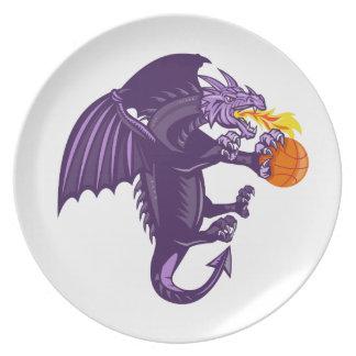 Fuego del dragón que sostiene retro aislada plato de comida