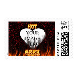 Fuego del friki y mármol calientes del rojo de las estampillas