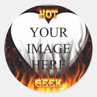 Fuego del friki y mármol calientes del rojo de las pegatina redonda