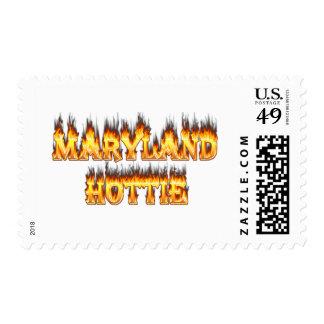 Fuego del hottie de Maryand y diseño de las llamas Sello