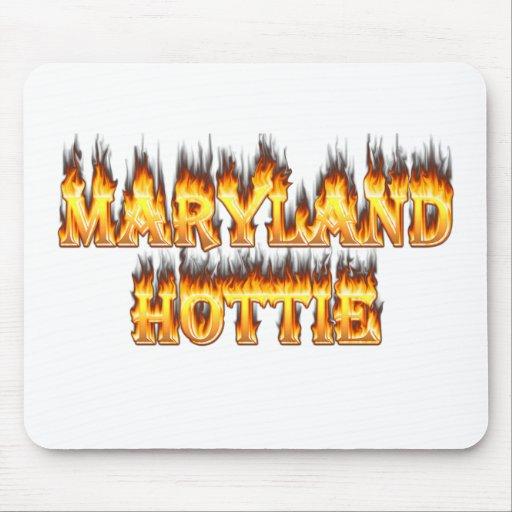 Fuego del hottie de Maryand y diseño de las llamas Alfombrillas De Ratones