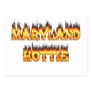 Fuego del hottie de Maryand y diseño de las llamas Tarjetas De Visita Grandes